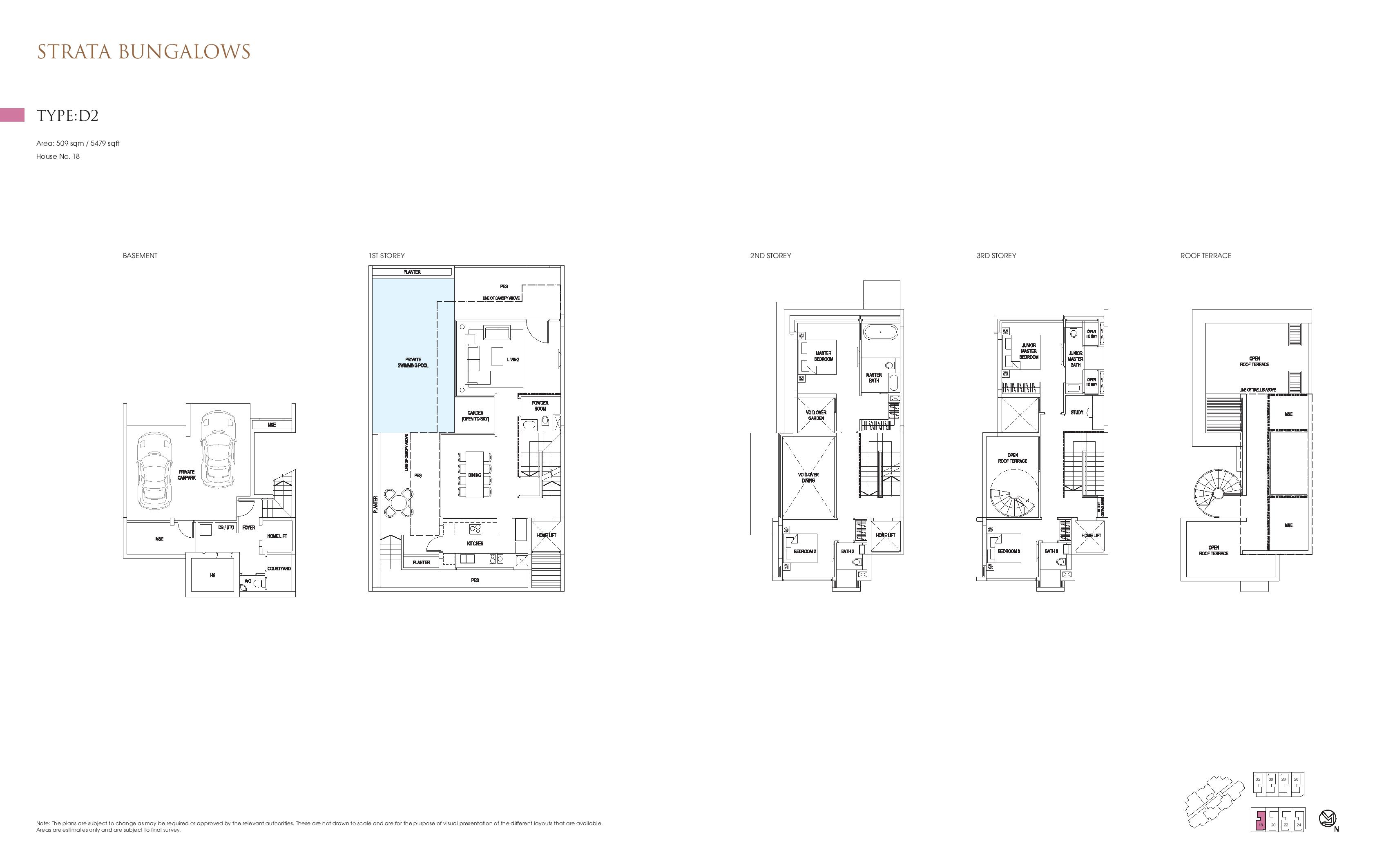 Goodwood Grand Strata Bungalows Type D2 Floor Plans