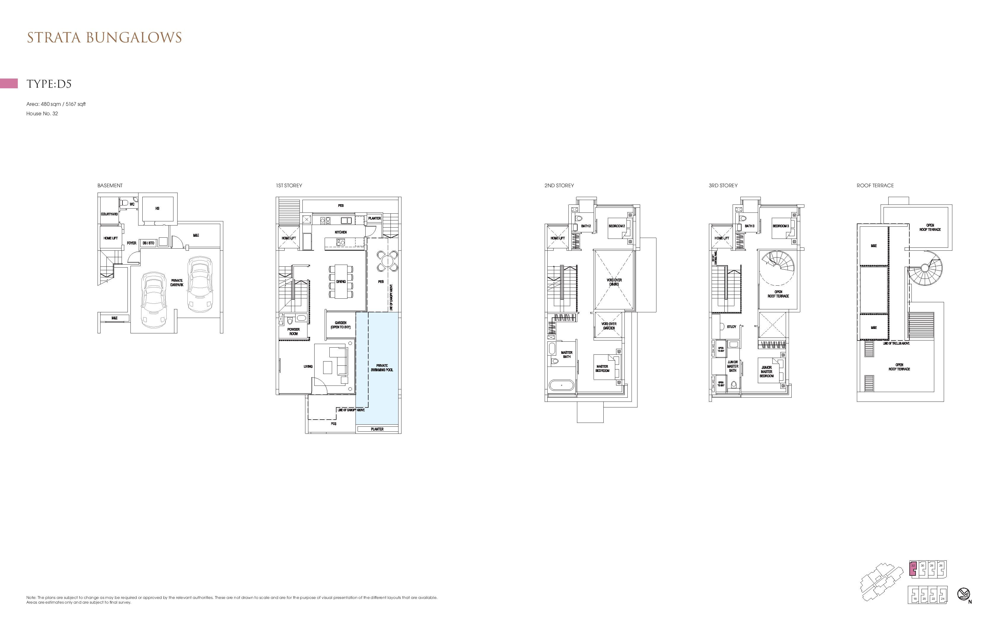 Goodwood Grand Strata Bungalows Type D5 Floor Plans