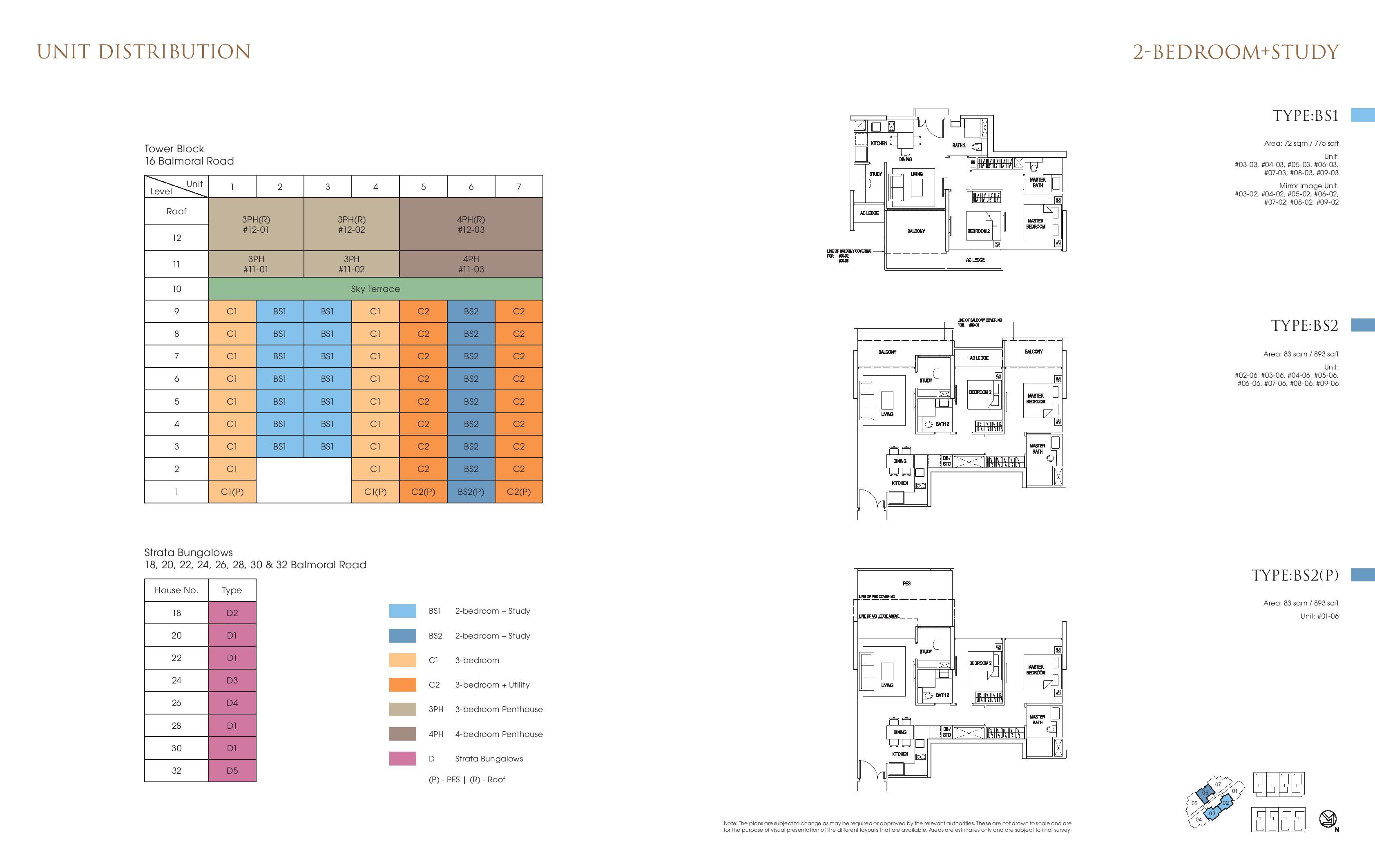 Goodwood Grand 2 Bedroom + Study Floor Plans