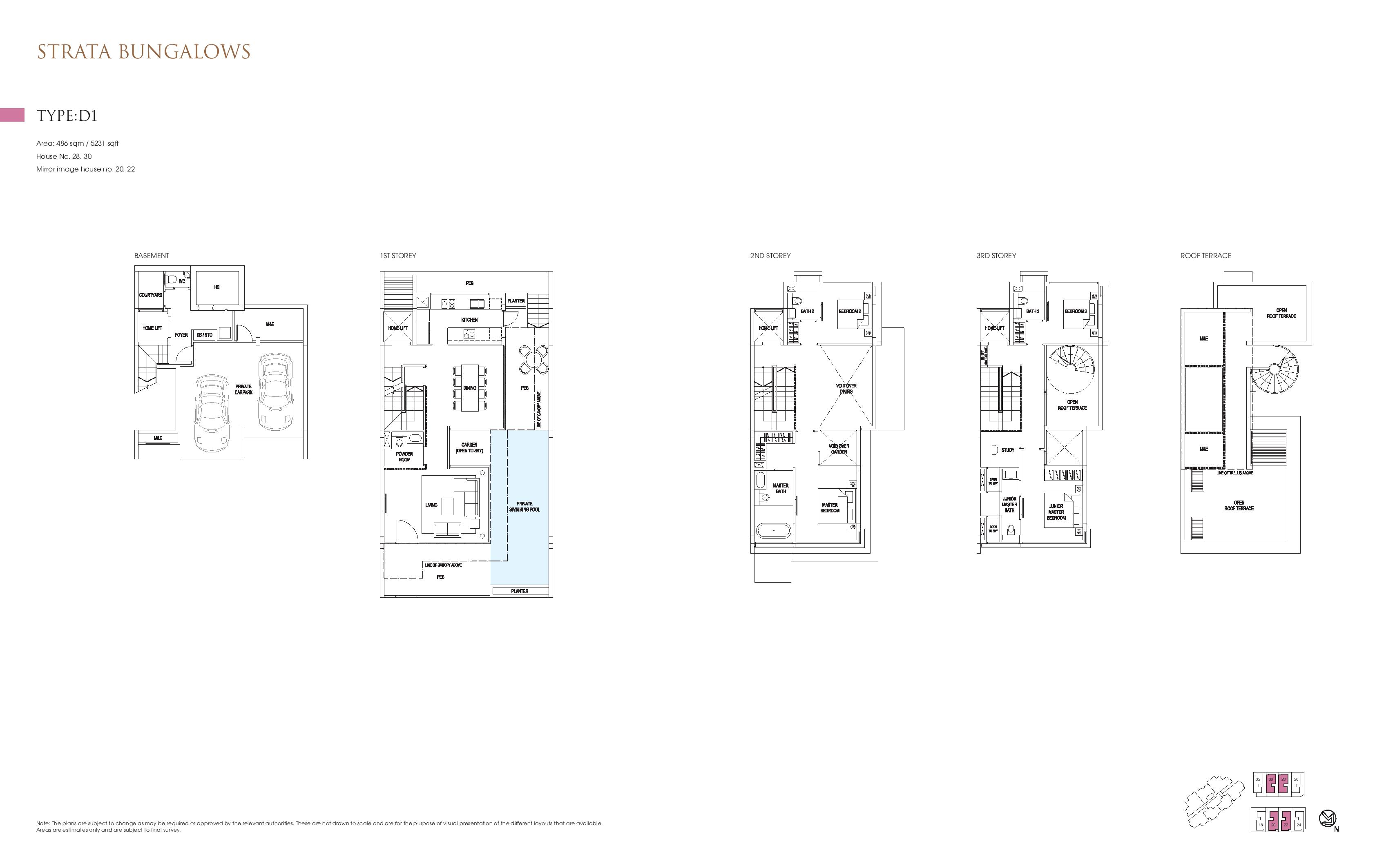 Goodwood Grand Strata Bungalows Type D1 Floor Plans