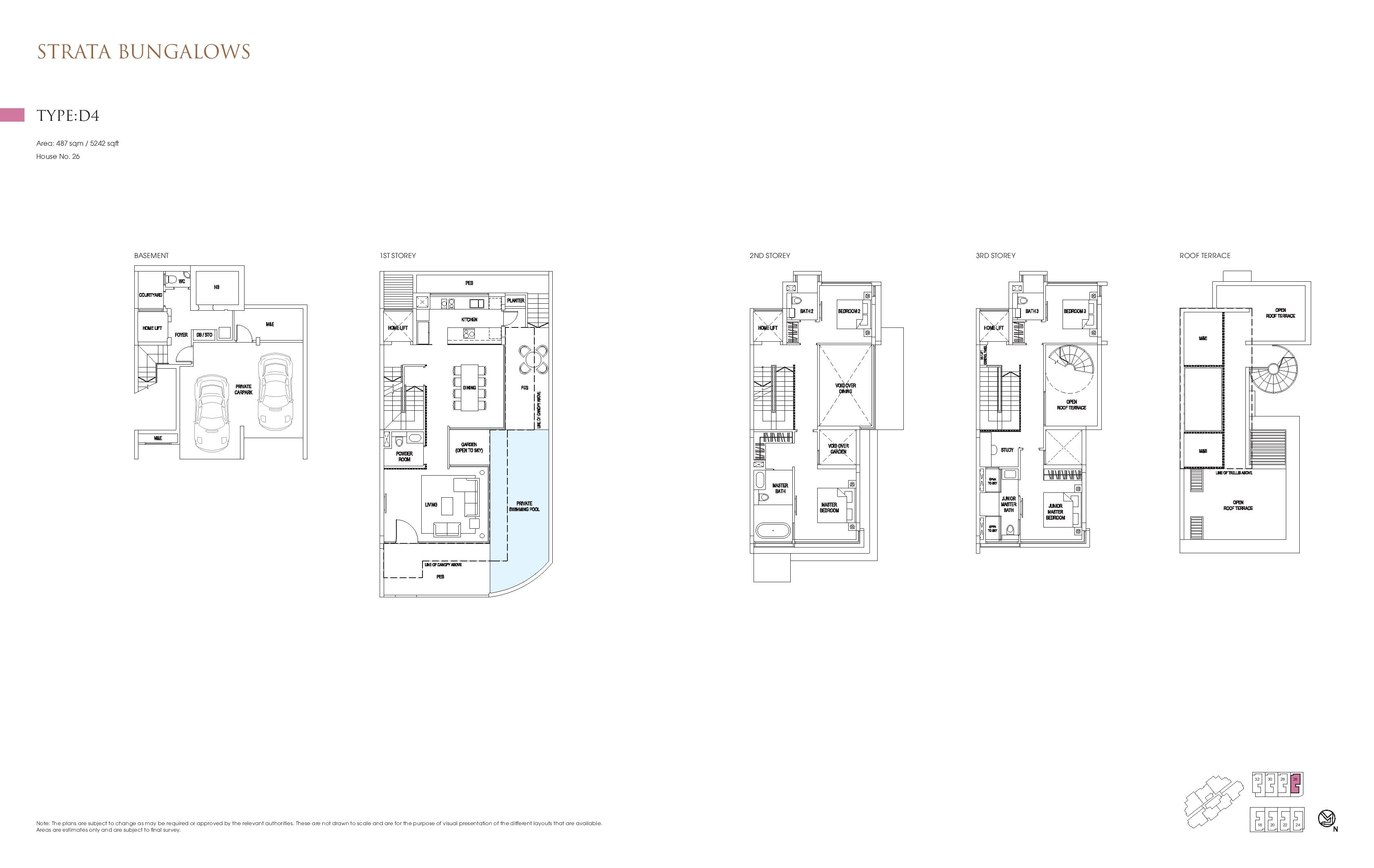 Goodwood Grand Strata Bungalows Type D4 Floor Plans
